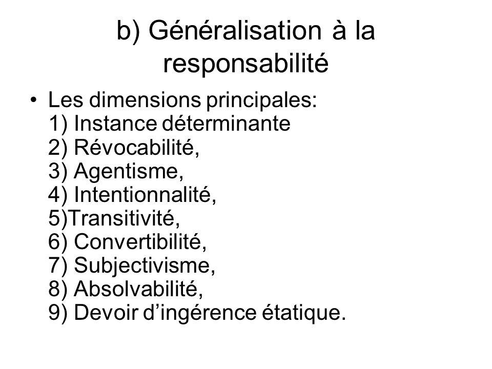 b) Généralisation à la responsabilité Les dimensions principales: 1) Instance déterminante 2) Révocabilité, 3) Agentisme, 4) Intentionnalité, 5)Transitivité, 6) Convertibilité, 7) Subjectivisme, 8) Absolvabilité, 9) Devoir dingérence étatique.