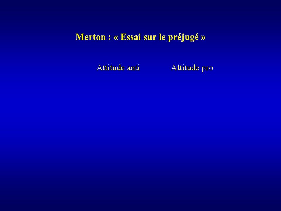 Merton : « Essai sur le préjugé »