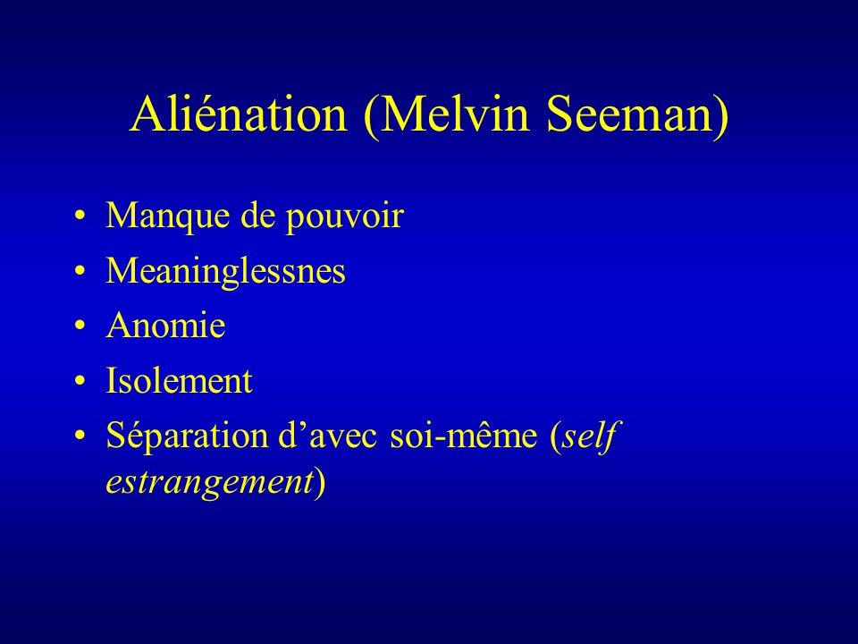 Aliénation (Melvin Seeman) Manque de pouvoir Meaninglessnes Anomie Isolement Séparation davec soi-même (self estrangement)