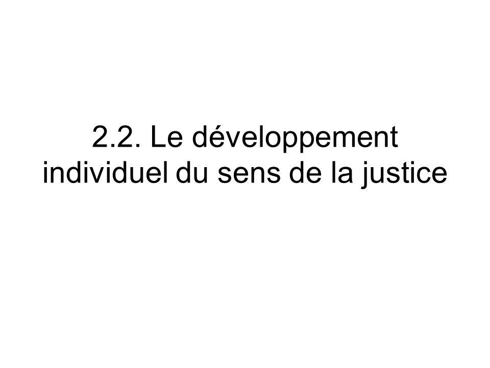 2.2. Le développement individuel du sens de la justice