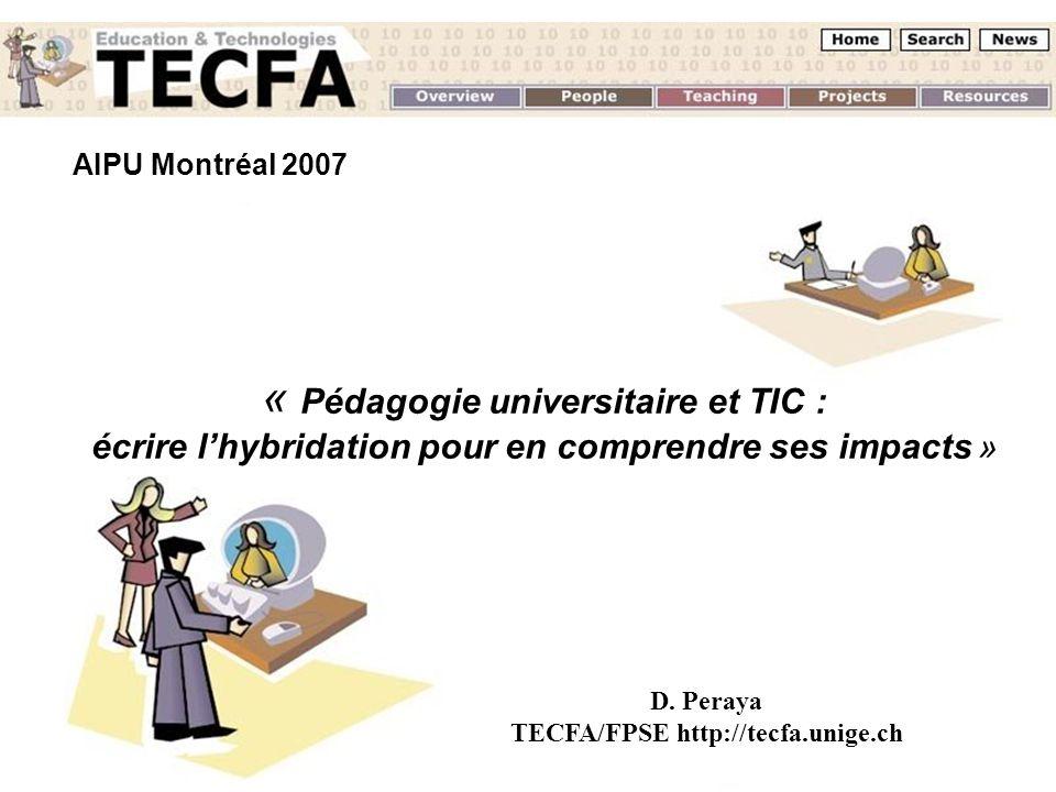 AIPU Montréal 2007 Un regard sur les dispositifs hybrides D. Peraya TECFA - UNIGE AIPU Montréal 2007 « Pédagogie universitaire et TIC : écrire lhybrid