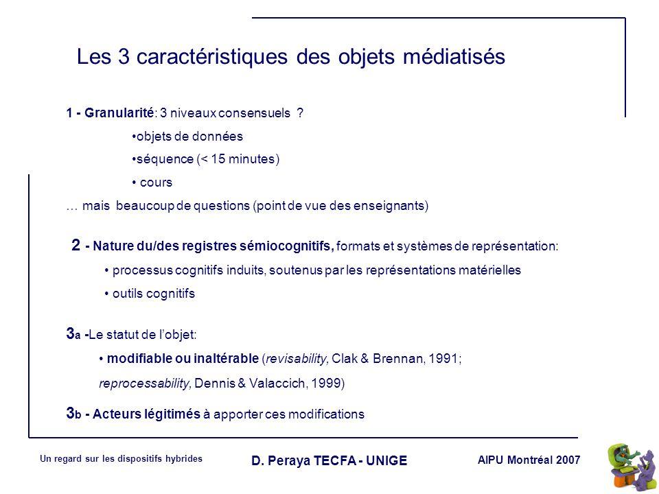 AIPU Montréal 2007 Un regard sur les dispositifs hybrides D. Peraya TECFA - UNIGE Les 3 caractéristiques des objets médiatisés 1 - Granularité: 3 nive