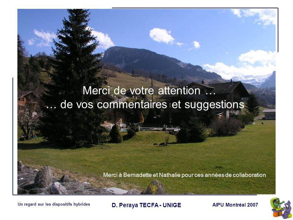 AIPU Montréal 2007 Un regard sur les dispositifs hybrides D. Peraya TECFA - UNIGE Merci à Bernadette et Nathalie pour ces années de collaboration Merc