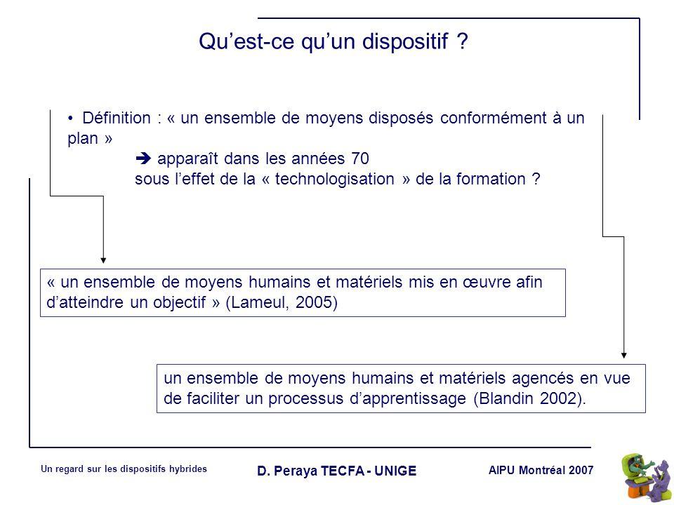 AIPU Montréal 2007 Un regard sur les dispositifs hybrides D. Peraya TECFA - UNIGE Définition : « un ensemble de moyens disposés conformément à un plan