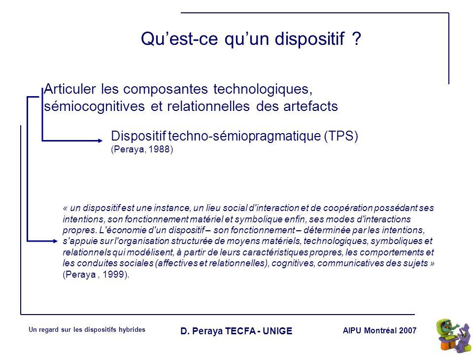 AIPU Montréal 2007 Un regard sur les dispositifs hybrides D. Peraya TECFA - UNIGE Quest-ce quun dispositif ? « un dispositif est une instance, un lieu