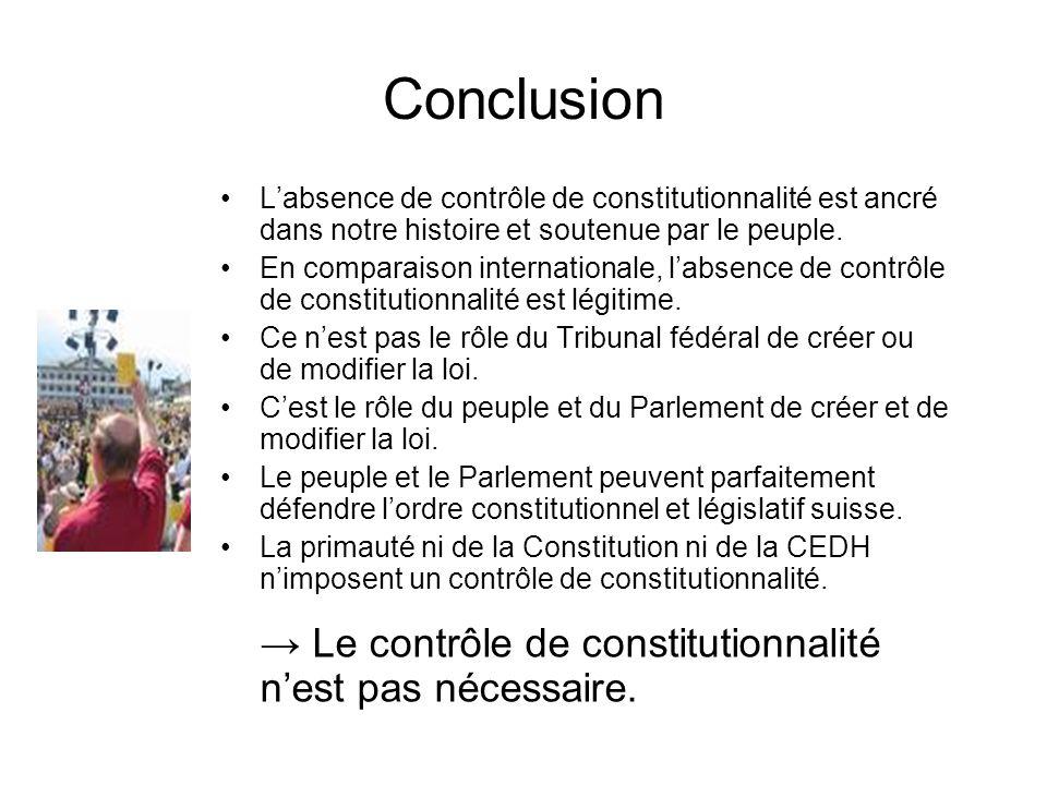 Conclusion Labsence de contrôle de constitutionnalité est ancré dans notre histoire et soutenue par le peuple. En comparaison internationale, labsence
