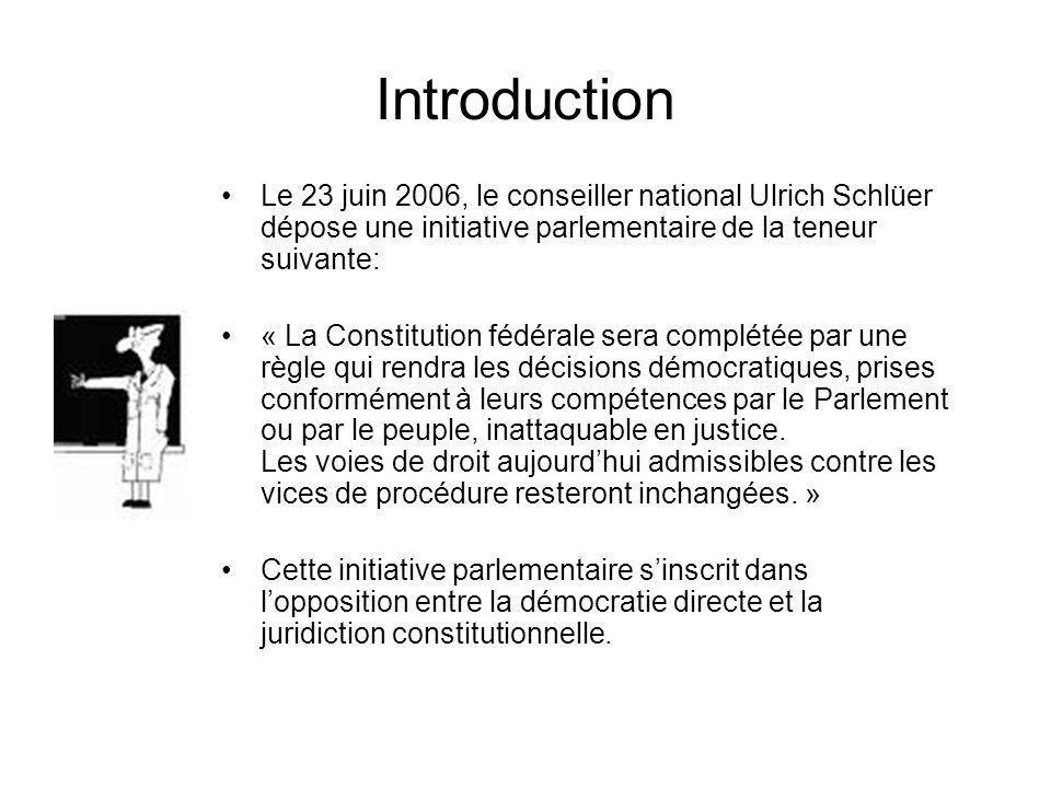 Introduction Le 23 juin 2006, le conseiller national Ulrich Schlüer dépose une initiative parlementaire de la teneur suivante: « La Constitution fédér