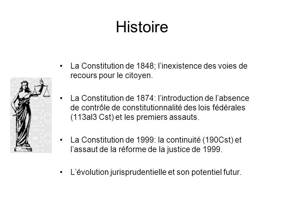Histoire La Constitution de 1848; linexistence des voies de recours pour le citoyen. La Constitution de 1874: lintroduction de labsence de contrôle de