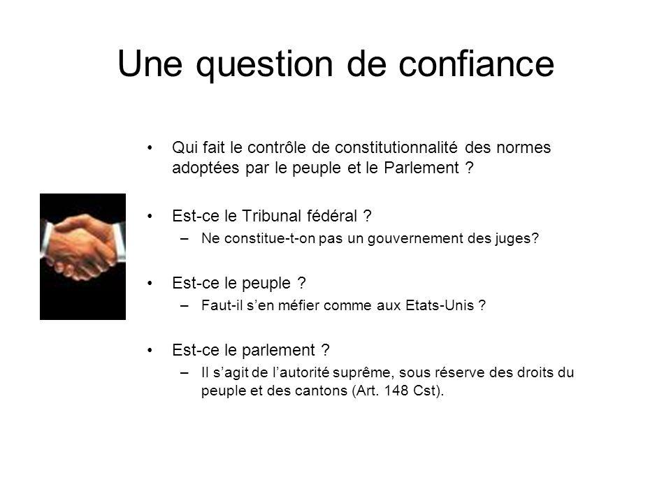 Une question de confiance Qui fait le contrôle de constitutionnalité des normes adoptées par le peuple et le Parlement ? Est-ce le Tribunal fédéral ?