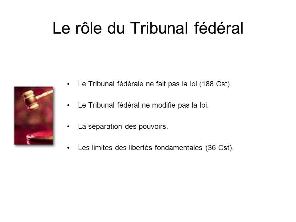 Le rôle du Tribunal fédéral Le Tribunal fédérale ne fait pas la loi (188 Cst). Le Tribunal fédéral ne modifie pas la loi. La séparation des pouvoirs.
