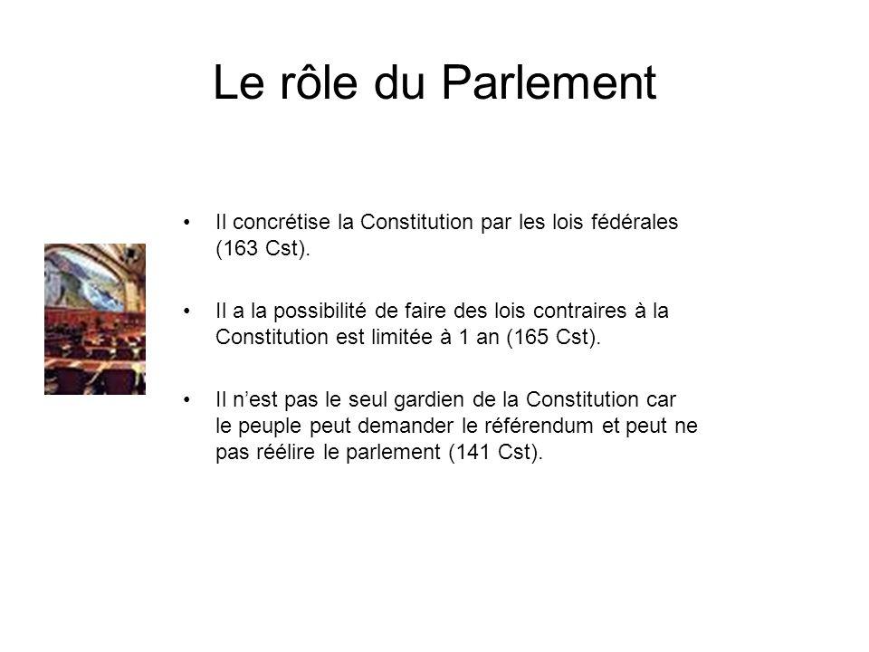 Le rôle du Parlement Il concrétise la Constitution par les lois fédérales (163 Cst). Il a la possibilité de faire des lois contraires à la Constitutio