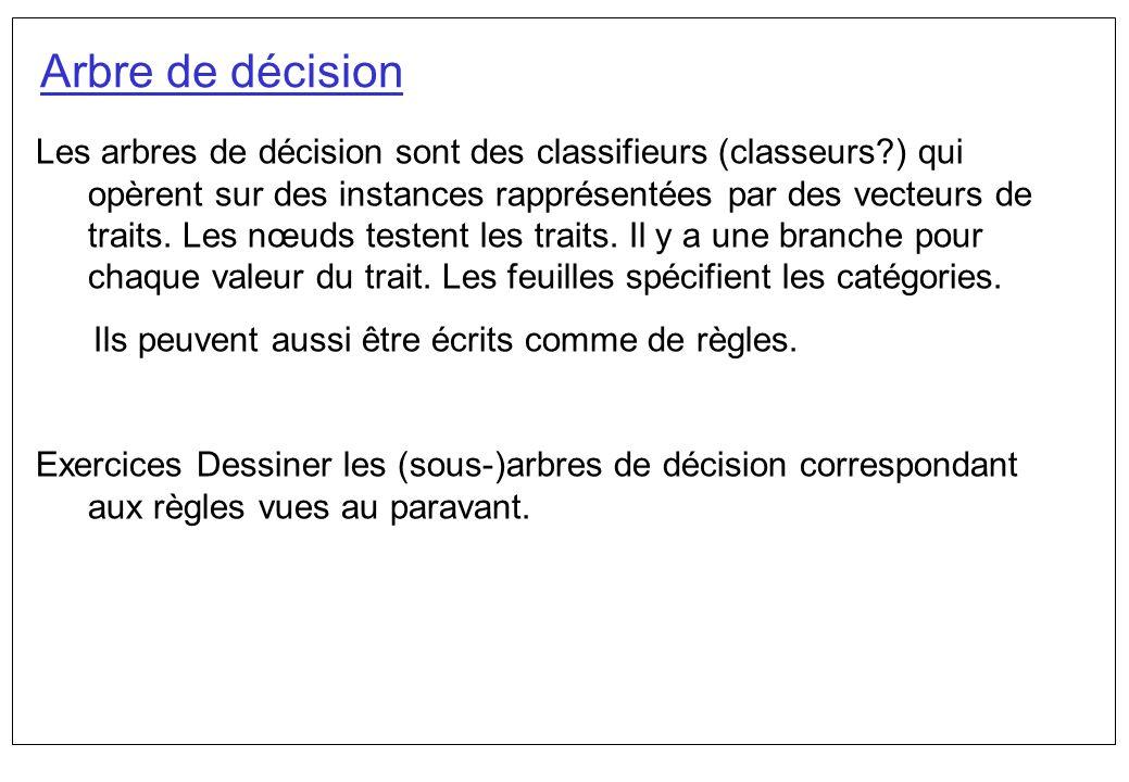 Arbre de décision Les arbres de décision sont des classifieurs (classeurs?) qui opèrent sur des instances rapprésentées par des vecteurs de traits. Le