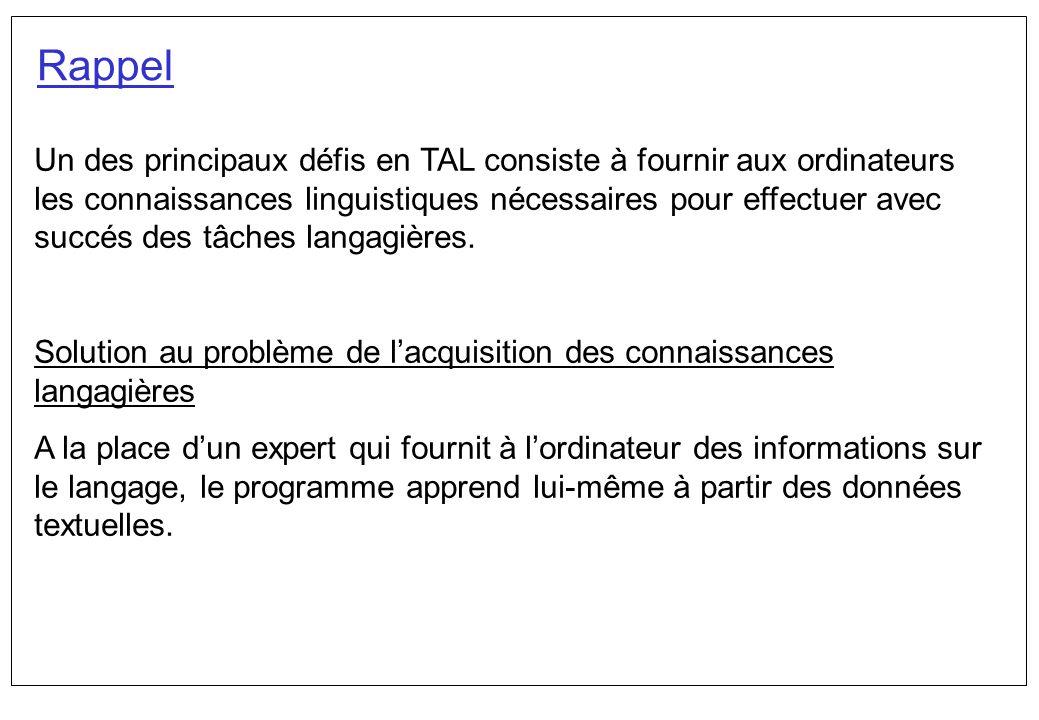 Un des principaux défis en TAL consiste à fournir aux ordinateurs les connaissances linguistiques nécessaires pour effectuer avec succés des tâches la