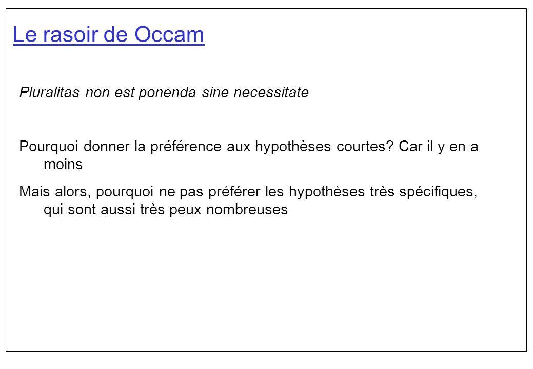 Le rasoir de Occam Pluralitas non est ponenda sine necessitate Pourquoi donner la préférence aux hypothèses courtes? Car il y en a moins Mais alors, p