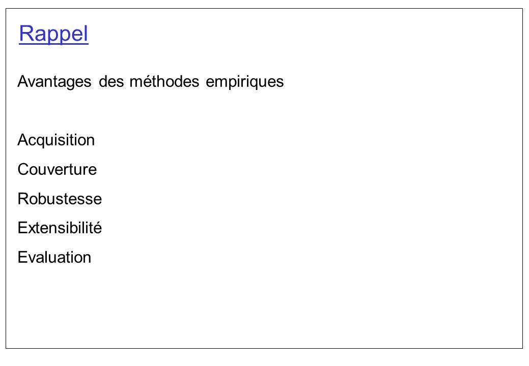 Avantages des méthodes empiriques Acquisition Couverture Robustesse Extensibilité Evaluation Rappel