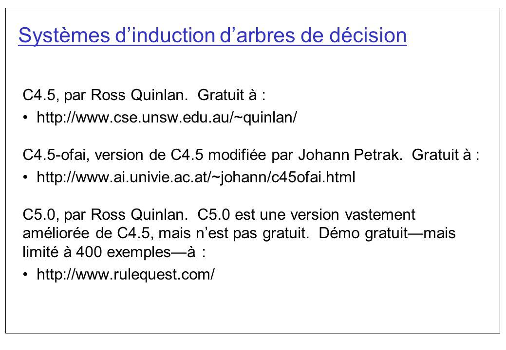 Systèmes dinduction darbres de décision C4.5, par Ross Quinlan. Gratuit à : http://www.cse.unsw.edu.au/~quinlan/ C4.5-ofai, version de C4.5 modifiée p