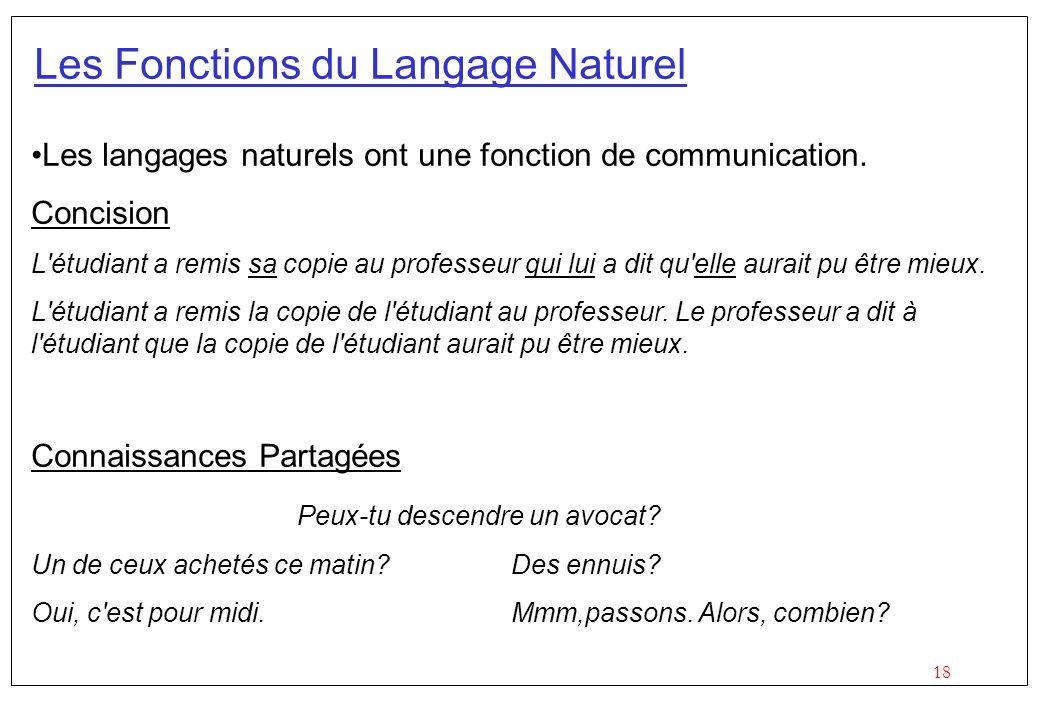 18 Les Fonctions du Langage Naturel Les langages naturels ont une fonction de communication.