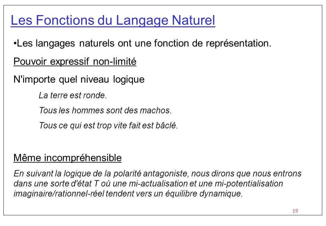 19 Les Fonctions du Langage Naturel Les langages naturels ont une fonction de représentation.
