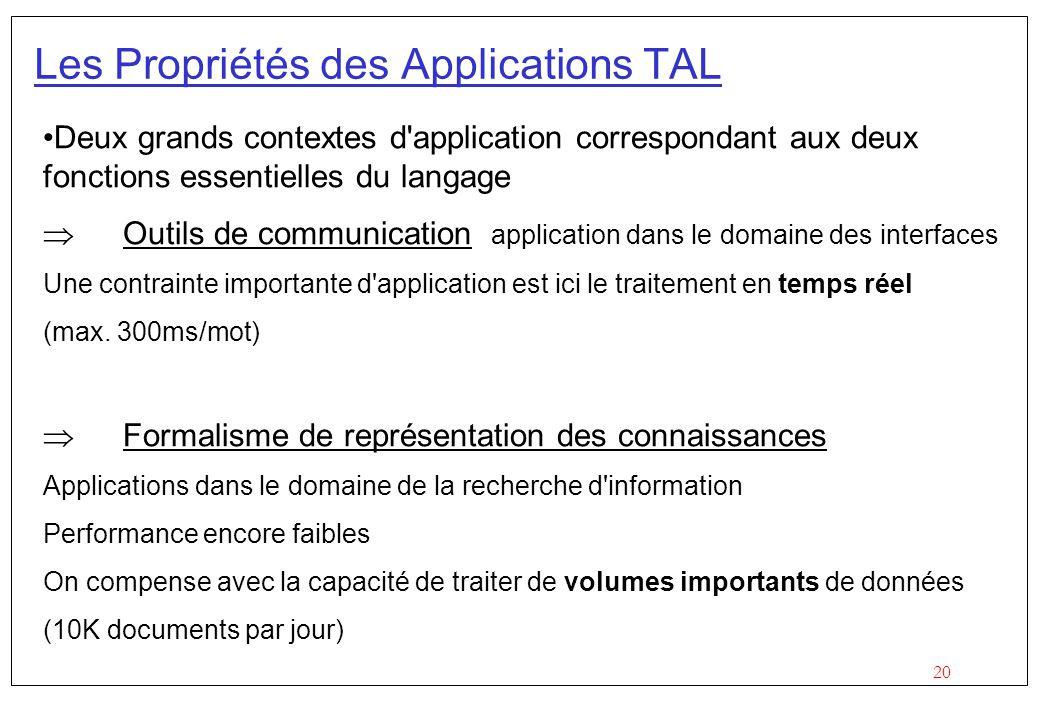 20 Les Propriétés des Applications TAL Deux grands contextes d application correspondant aux deux fonctions essentielles du langage Outils de communication application dans le domaine des interfaces Une contrainte importante d application est ici le traitement en temps réel (max.