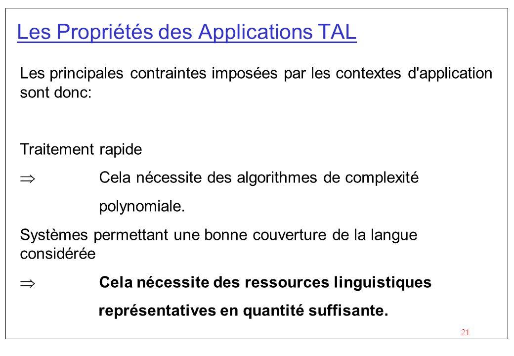 21 Les principales contraintes imposées par les contextes d application sont donc: Traitement rapide Cela nécessite des algorithmes de complexité polynomiale.
