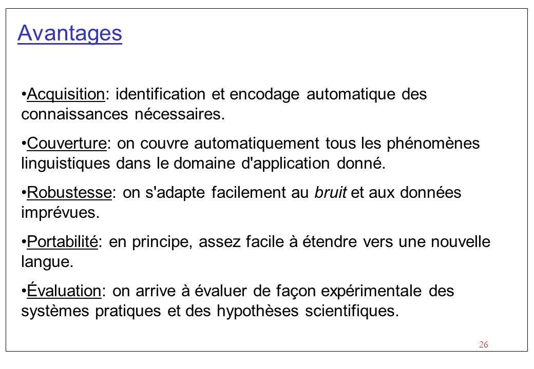 26 Avantages Acquisition: identification et encodage automatique des connaissances nécessaires.