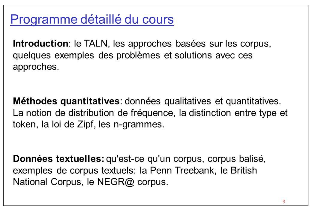 9 Programme détaillé du cours Introduction: le TALN, les approches basées sur les corpus, quelques exemples des problèmes et solutions avec ces approches.