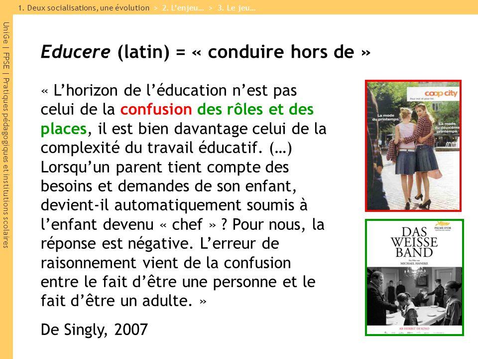 UniGe | FPSE | Pratiques pédagogiques et institutions scolaires « Lhorizon de léducation nest pas celui de la confusion des rôles et des places, il es