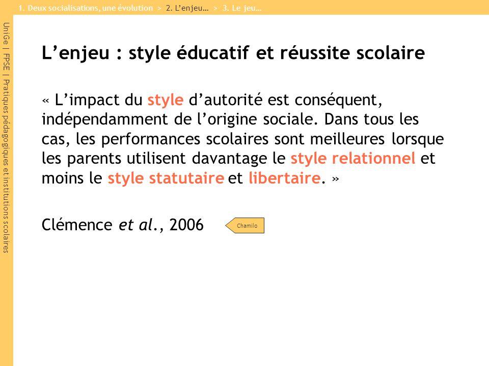 UniGe | FPSE | Pratiques pédagogiques et institutions scolaires Lenjeu : style éducatif et réussite scolaire « Limpact du style dautorité est conséquent, indépendamment de lorigine sociale.