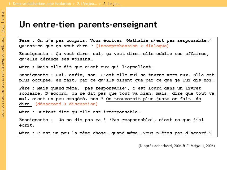 UniGe | FPSE | Pratiques pédagogiques et institutions scolaires Un entre-tien parents-enseignant Père : On na pas compris. Vous écrivez Nathalie nest