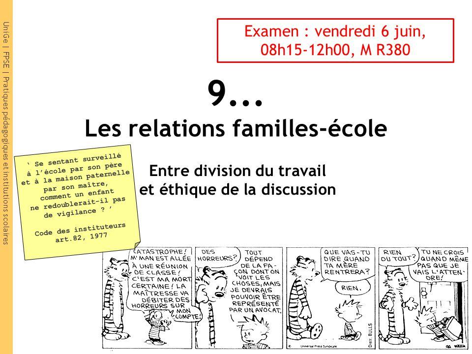 9... Les relations familles-école Entre division du travail et éthique de la discussion Se sentant surveillé à lécole par son père et à la maison pate