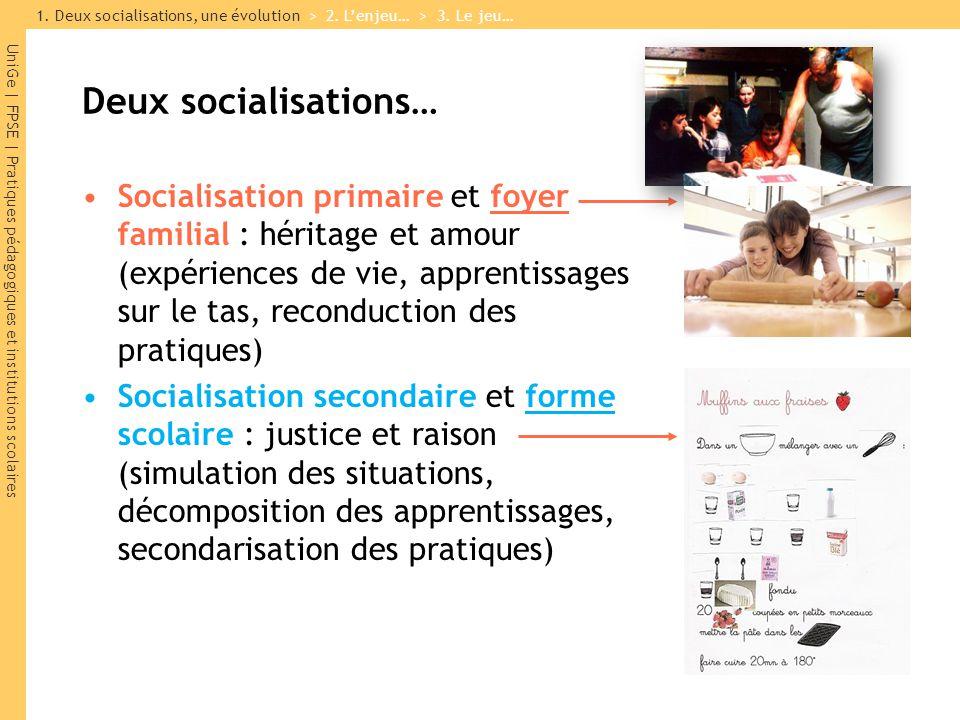 UniGe | FPSE | Pratiques pédagogiques et institutions scolaires Deux socialisations… Socialisation primaire et foyer familial : héritage et amour (exp