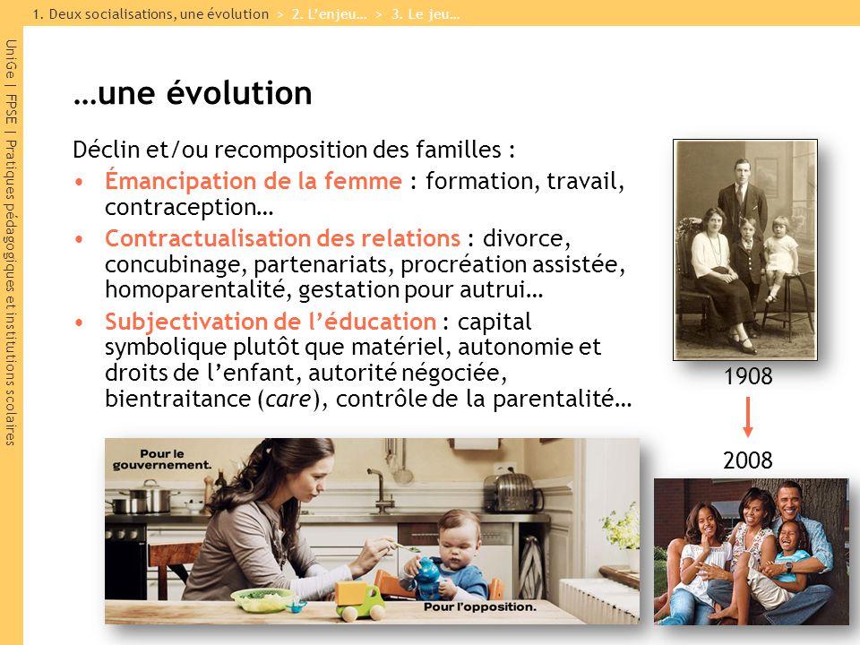 UniGe | FPSE | Pratiques pédagogiques et institutions scolaires …une évolution Déclin et/ou recomposition des familles : Émancipation de la femme : fo