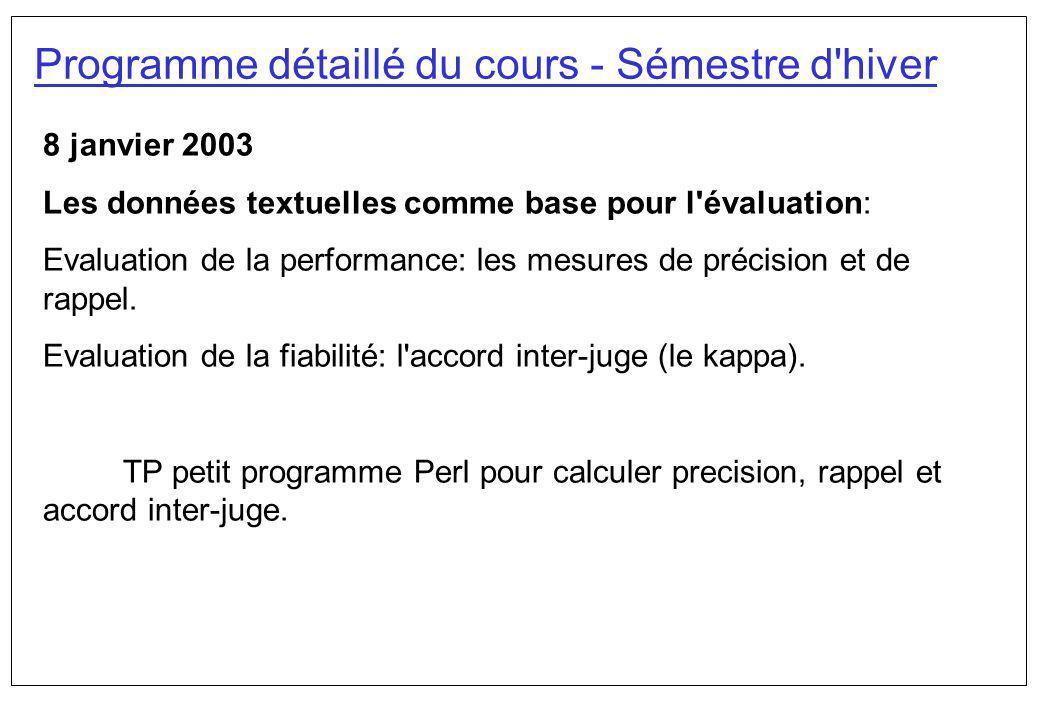 Programme détaillé du cours - Sémestre d'hiver 8 janvier 2003 Les données textuelles comme base pour l'évaluation: Evaluation de la performance: les m