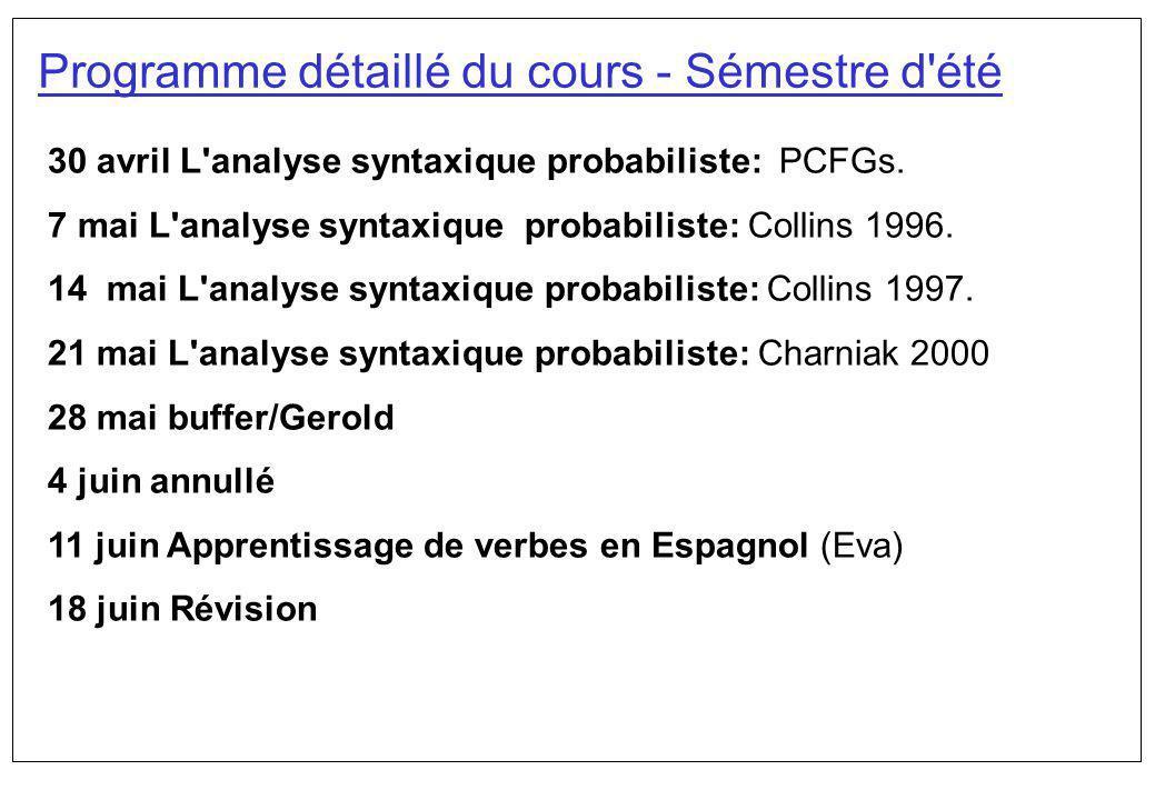 Programme détaillé du cours - Sémestre d'été 30 avril L'analyse syntaxique probabiliste: PCFGs. 7 mai L'analyse syntaxique probabiliste: Collins 1996.