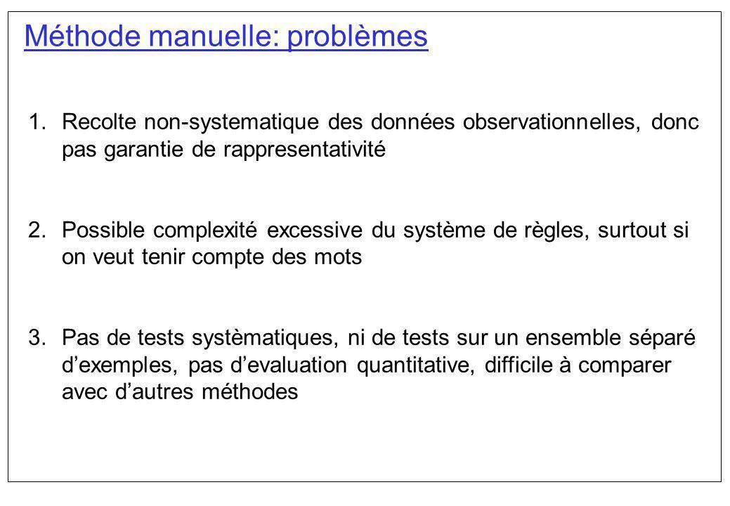 Méthode manuelle: problèmes 1.Recolte non-systematique des données observationnelles, donc pas garantie de rappresentativité 2.Possible complexité exc