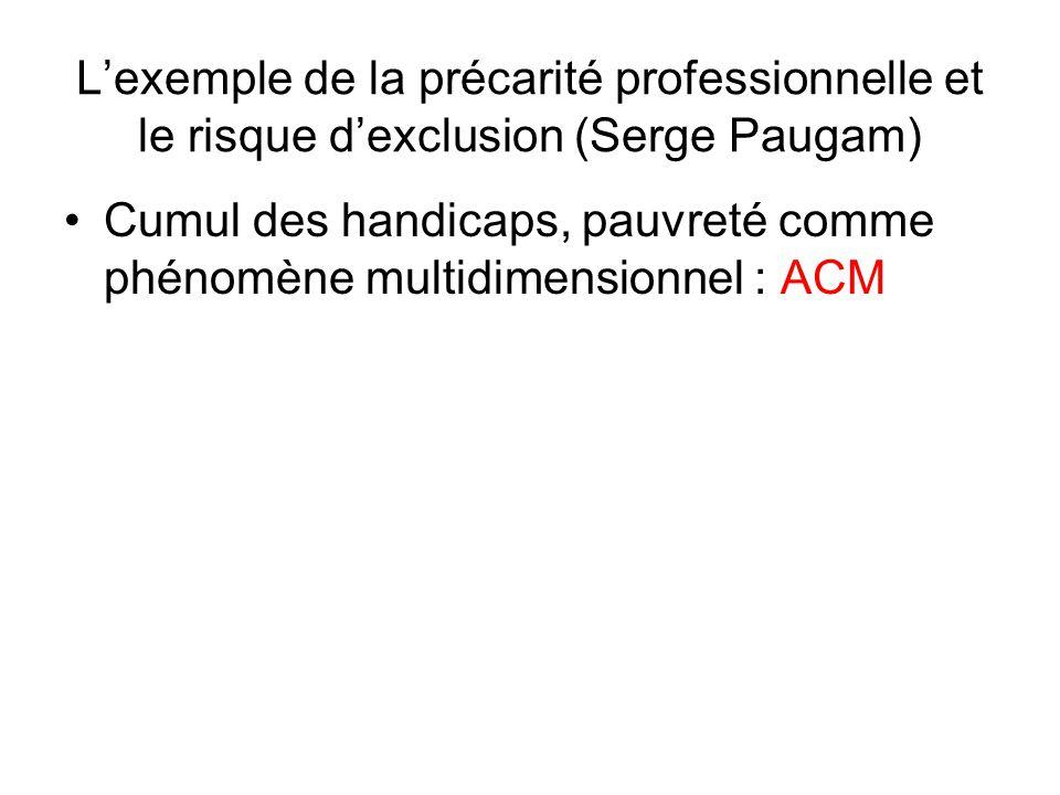 Cumul des handicaps, pauvreté comme phénomène multidimensionnel : ACM Lexemple de la précarité professionnelle et le risque dexclusion (Serge Paugam)