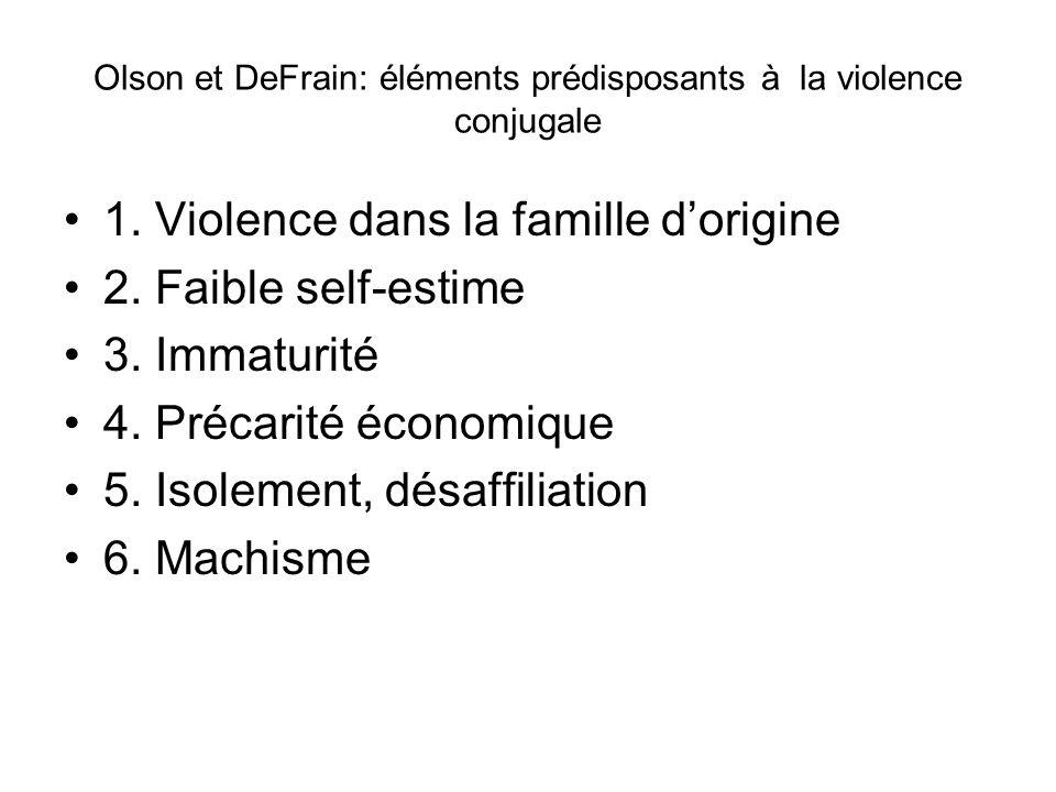 Olson et DeFrain: éléments prédisposants à la violence conjugale 1. Violence dans la famille dorigine 2. Faible self-estime 3. Immaturité 4. Précarité