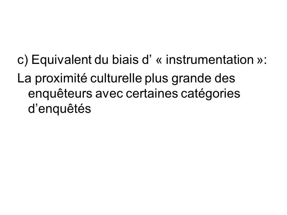 c) Equivalent du biais d « instrumentation »: La proximité culturelle plus grande des enquêteurs avec certaines catégories denquêtés
