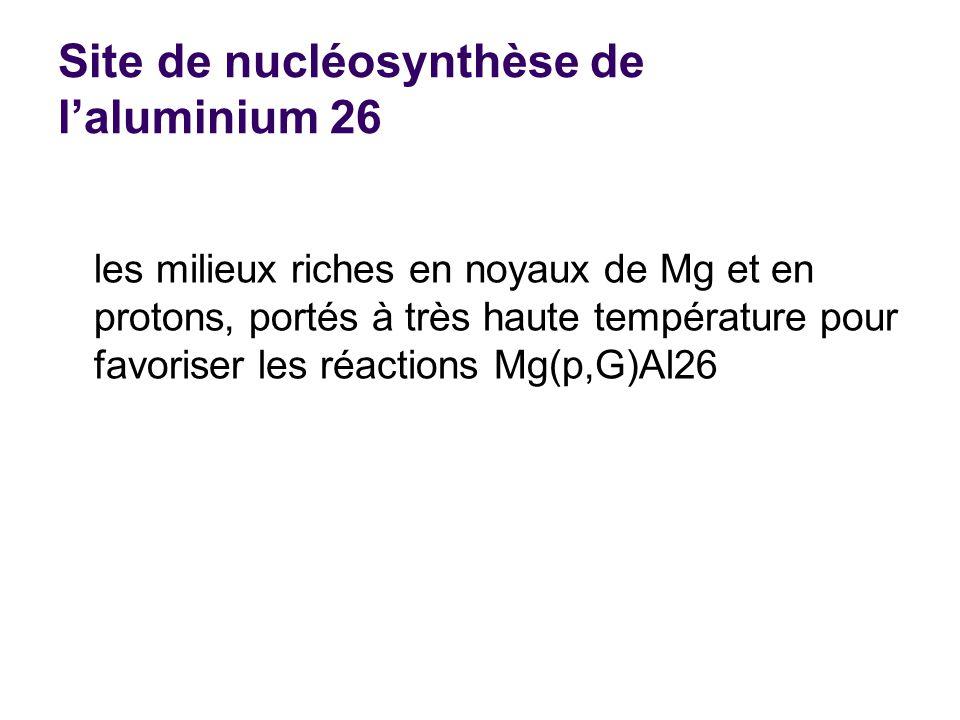 Site de nucléosynthèse de laluminium 26 les milieux riches en noyaux de Mg et en protons, portés à très haute température pour favoriser les réactions