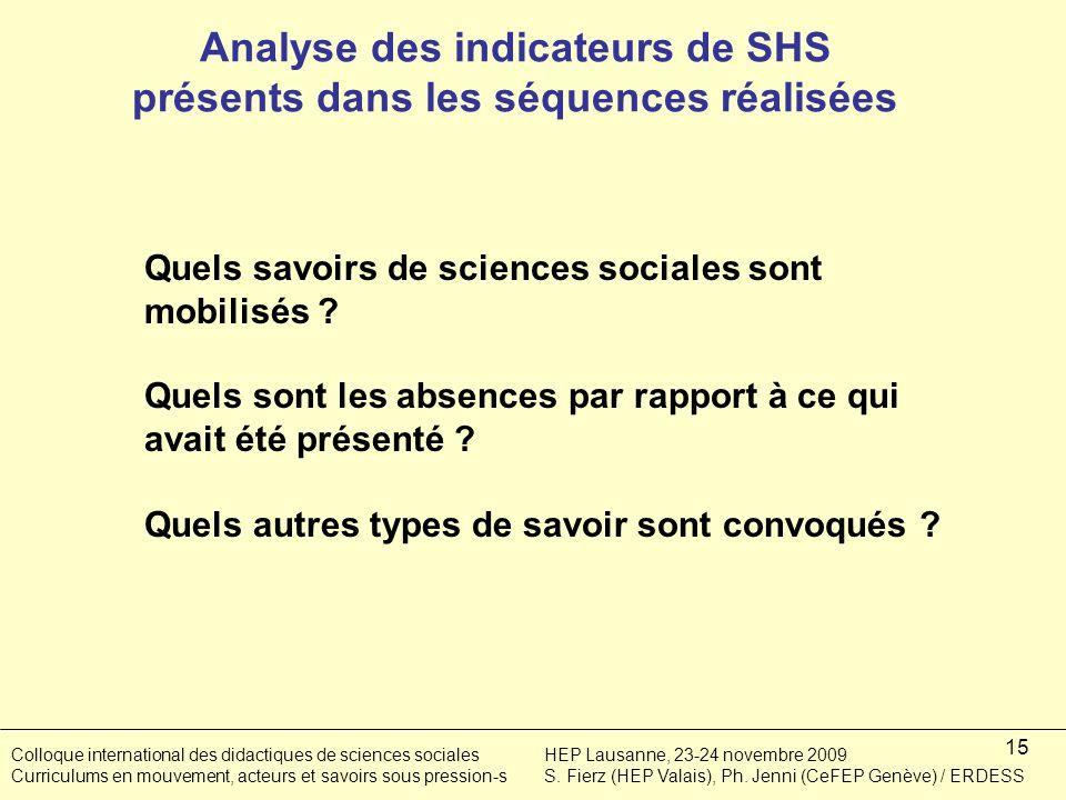 15 Analyse des indicateurs de SHS présents dans les séquences réalisées Quels savoirs de sciences sociales sont mobilisés .