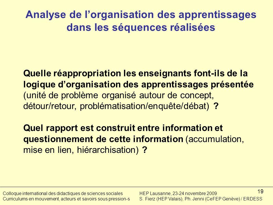 19 Quelle réappropriation les enseignants font-ils de la logique dorganisation des apprentissages présentée (unité de problème organisé autour de concept, détour/retour, problématisation/enquête/débat) .