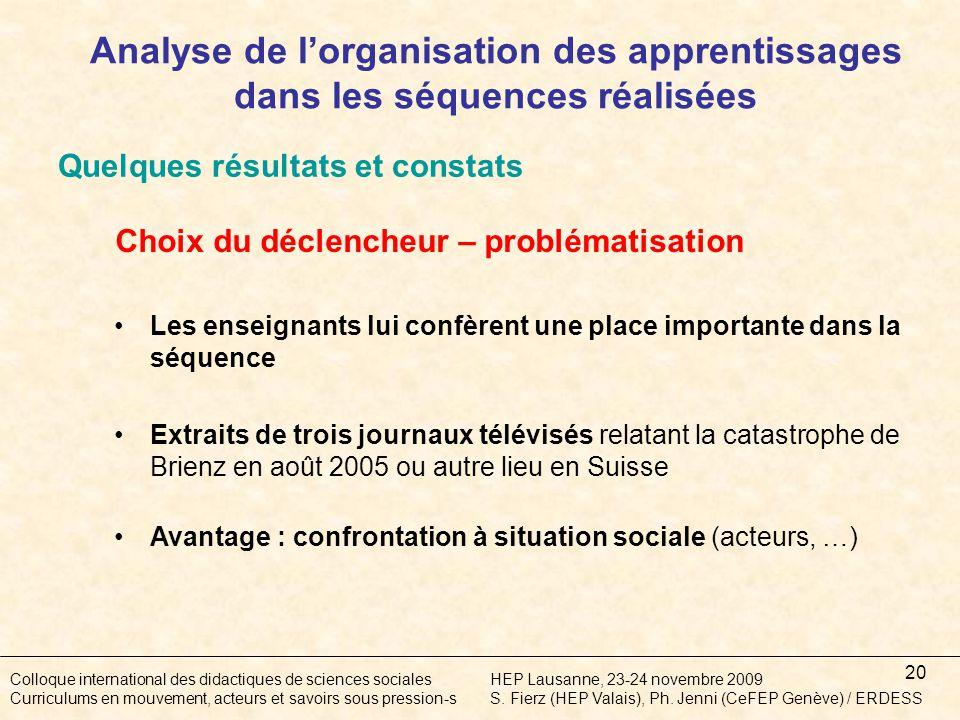 20 Colloque international des didactiques de sciences socialesHEP Lausanne, 23-24 novembre 2009 Curriculums en mouvement, acteurs et savoirs sous pression-sS.