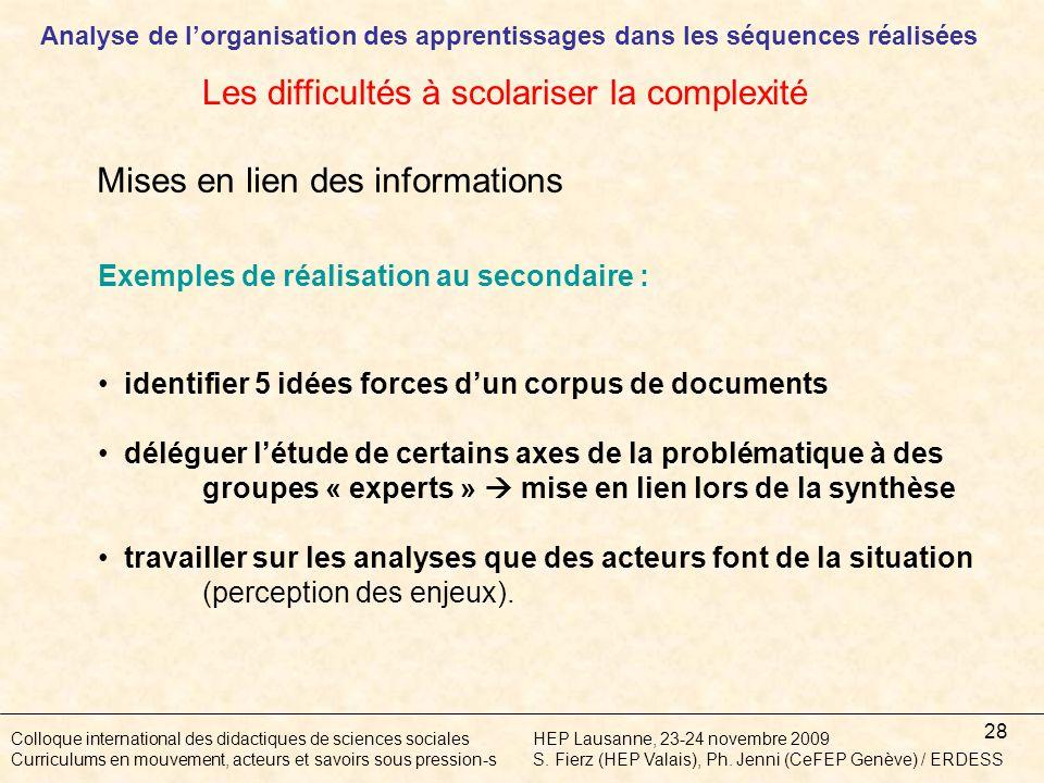 28 Colloque international des didactiques de sciences socialesHEP Lausanne, 23-24 novembre 2009 Curriculums en mouvement, acteurs et savoirs sous pression-sS.
