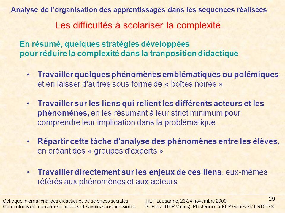 29 Colloque international des didactiques de sciences socialesHEP Lausanne, 23-24 novembre 2009 Curriculums en mouvement, acteurs et savoirs sous pression-sS.