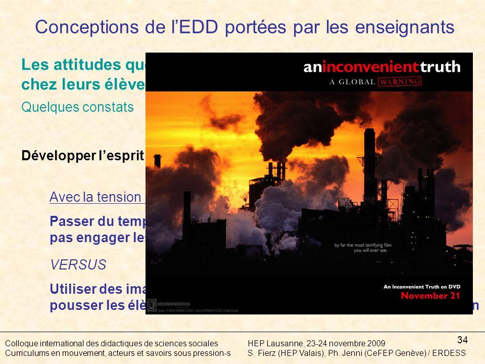 34 Colloque international des didactiques de sciences socialesHEP Lausanne, 23-24 novembre 2009 Curriculums en mouvement, acteurs et savoirs sous pression-sS.