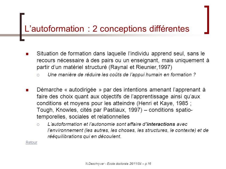 N.Deschryver - Ecole doctorale 26/11/04 – p.16 Lautoformation : 2 conceptions différentes Situation de formation dans laquelle lindividu apprend seul,