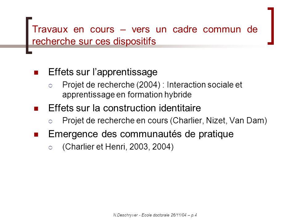 N.Deschryver - Ecole doctorale 26/11/04 – p.4 Travaux en cours – vers un cadre commun de recherche sur ces dispositifs Effets sur lapprentissage Proje