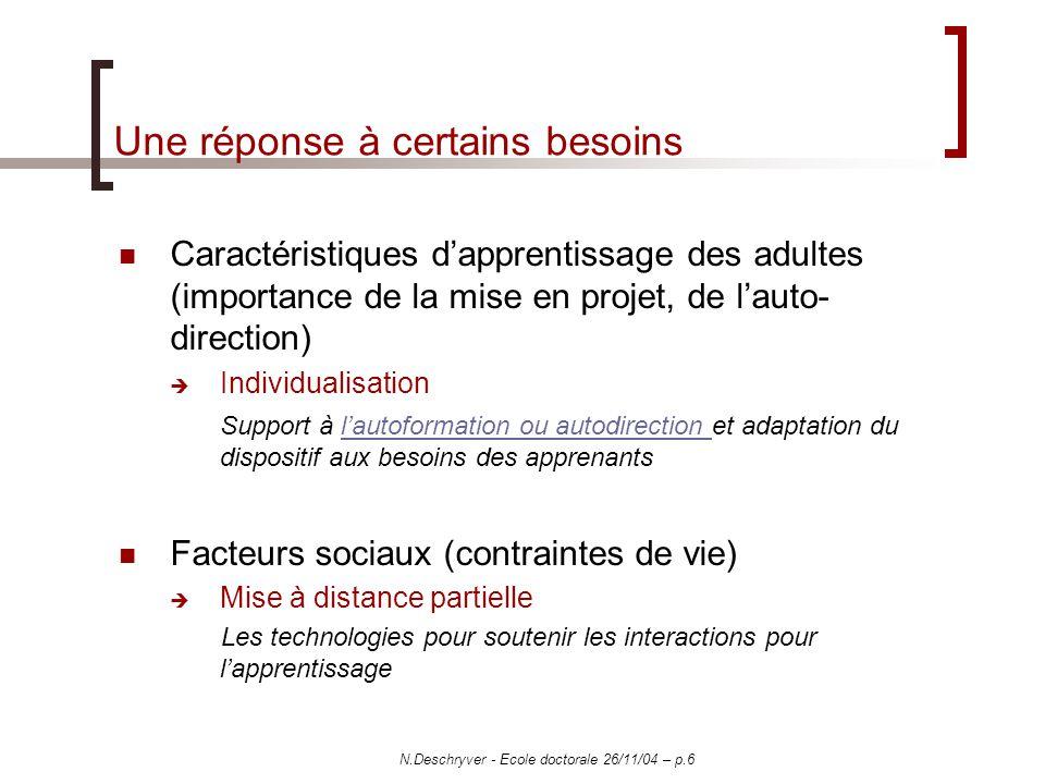 N.Deschryver - Ecole doctorale 26/11/04 – p.6 Une réponse à certains besoins Caractéristiques dapprentissage des adultes (importance de la mise en pro