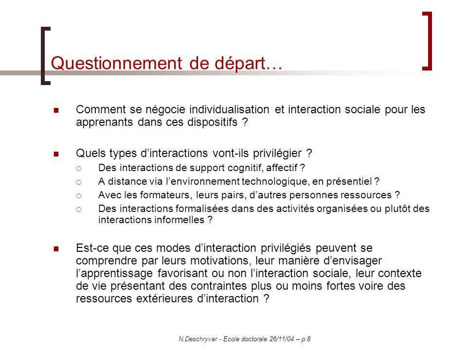 N.Deschryver - Ecole doctorale 26/11/04 – p.8 Questionnement de départ… Comment se négocie individualisation et interaction sociale pour les apprenants dans ces dispositifs .