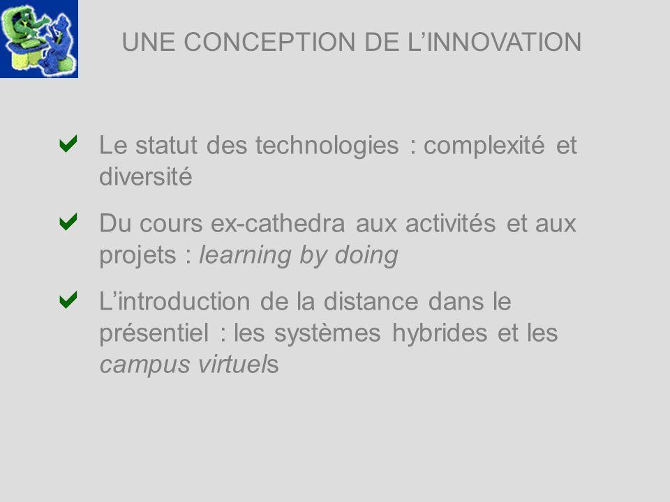 UNE CONCEPTION DE LINNOVATION Le statut des technologies : complexité et diversité Du cours ex-cathedra aux activités et aux projets : learning by doi
